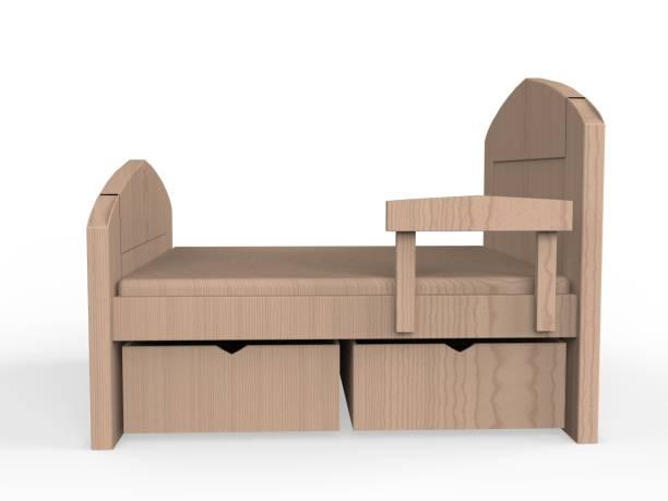 Wooden Bed 3D rendering stock photo