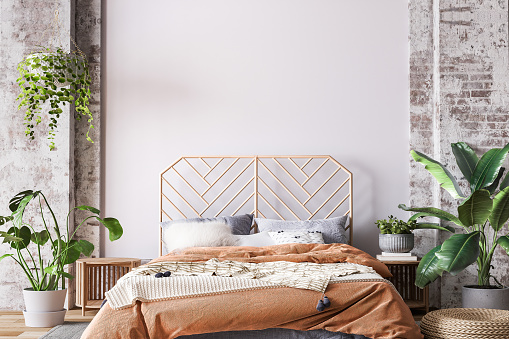 Wooden bed in loft apartment design, interior of bedroom with empty wall mockup, 3d render