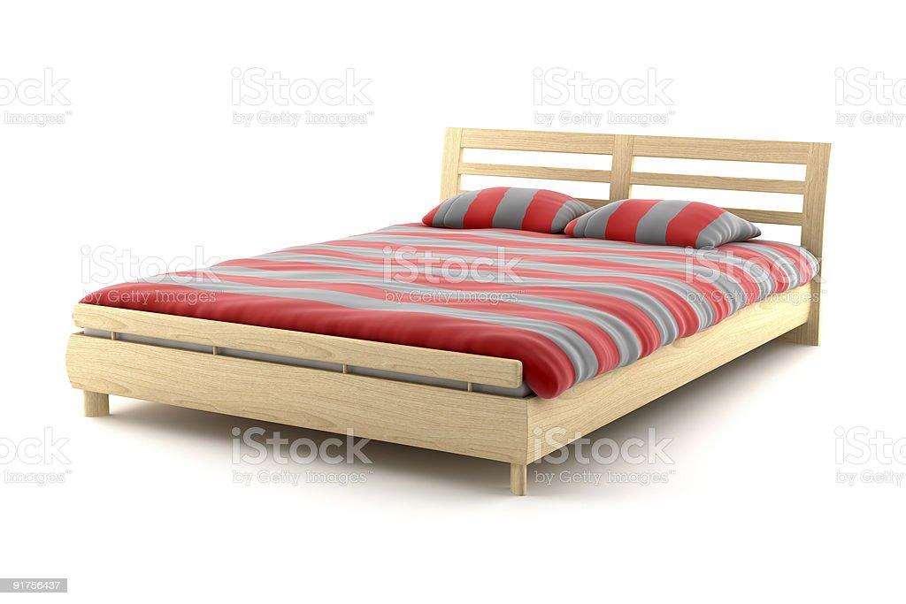 Hölzerne Bett, isoliert auf weißem Hintergrund Mit clipping path – Foto