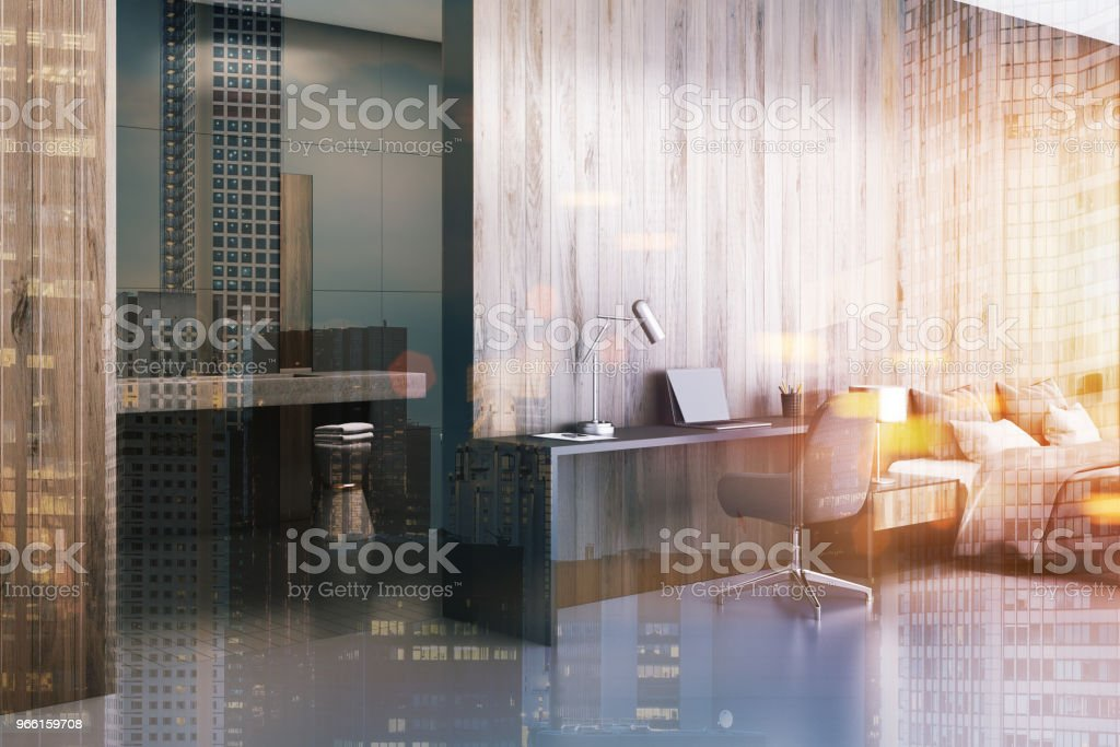 Wooden bedroom and a bathroom toned - Royalty-free Architecture Stock Photo