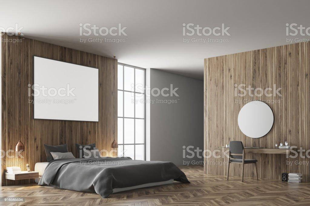 Hölzerne Schlafzimmer Ecke Graue Bett Dunkel Stock-Fotografie und ...