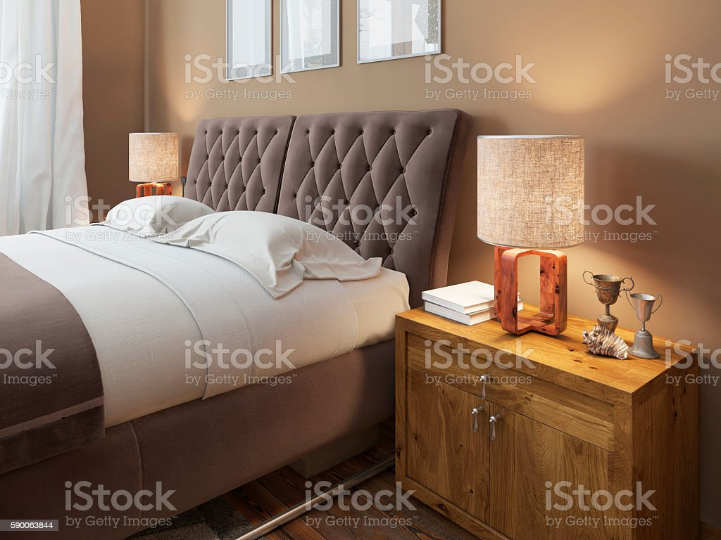 Wooden Bedside Tables With Expressive Textures In A Modern Bedro Stock Photo Download Image Now Istock