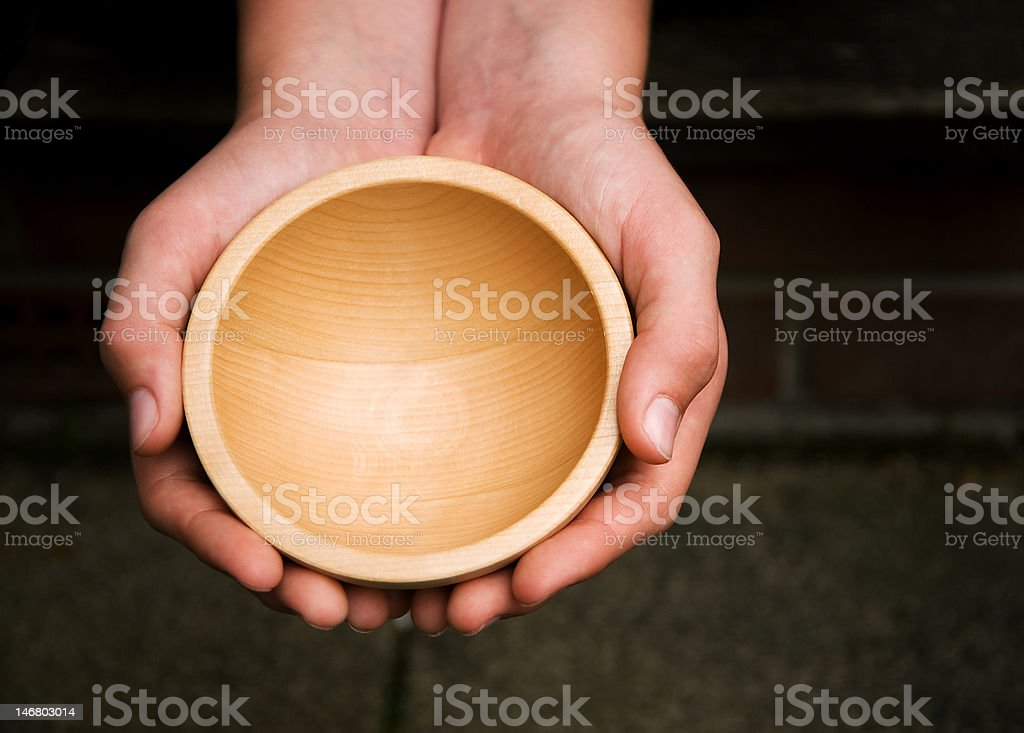 Wooden Begging Bowl stock photo
