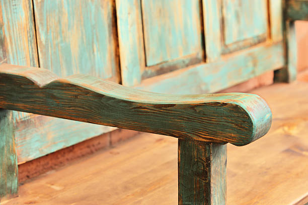 Wooden Bench Furniture Armrest stock photo