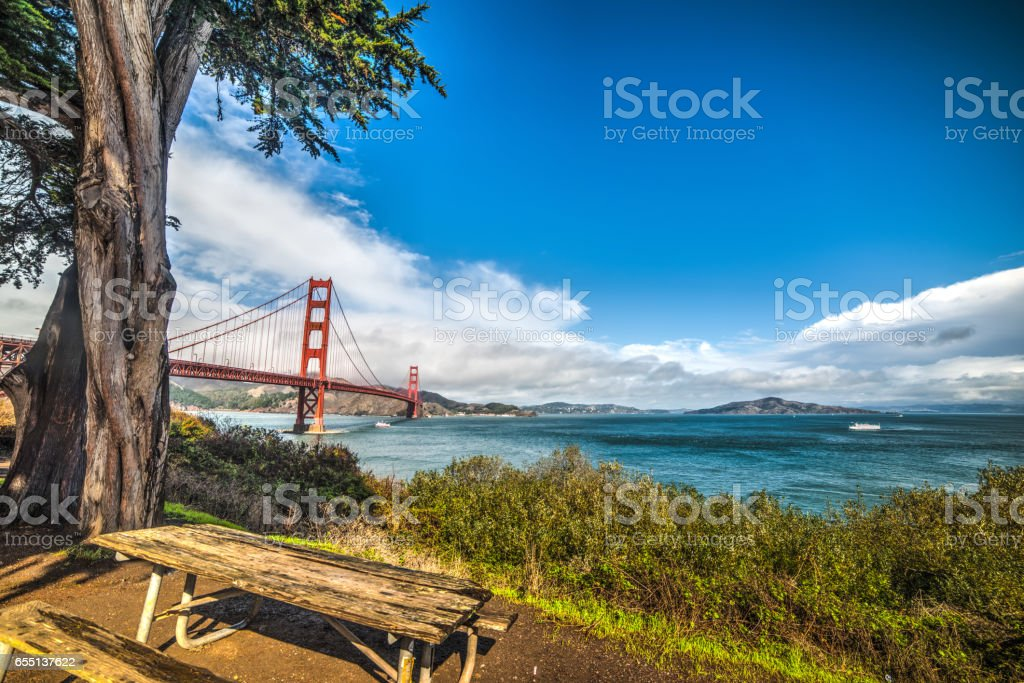 wooden bench in San Francisco stock photo