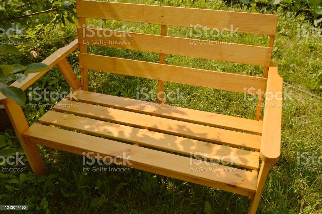 Wooden bench in summer garden for patio design, natural wood...