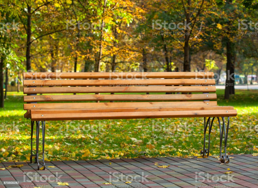 A wooden bench in the park, against a background of yellow fallen leaves stock photo
