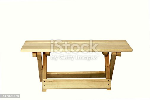 wooden bench isolated on white background