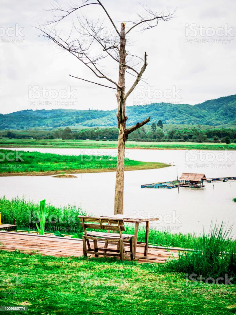 Groovy Wooden Bench Lake View Stock Photo Download Image Now Istock Gmtry Best Dining Table And Chair Ideas Images Gmtryco