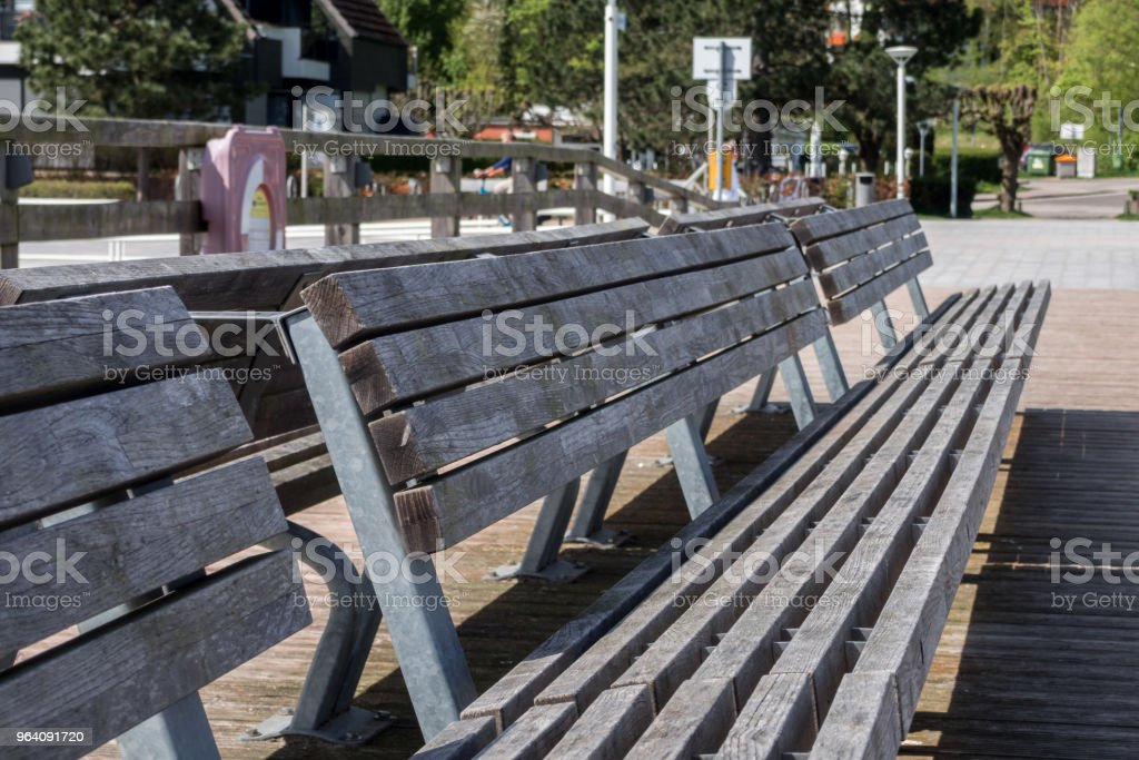 Wooden bench on a viewing platform - Royalty-free Absence Stock Photo