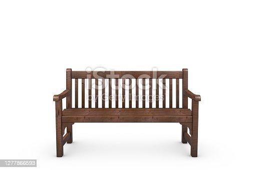 3D Wooden Bench, white background