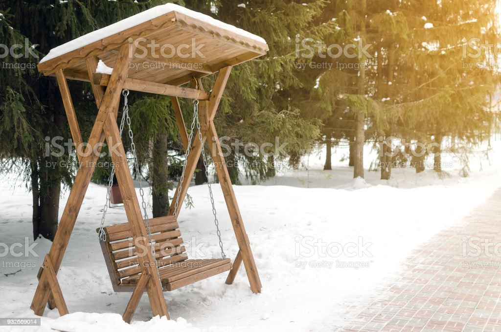 Pleasant Wooden Bench Swing In Winter Park Stock Photo Download Caraccident5 Cool Chair Designs And Ideas Caraccident5Info
