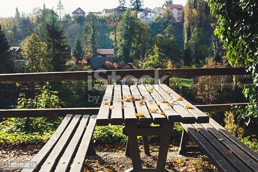 989111446 istock photo wooden bench  with yellow foliage in autumn. Autumn scene 1185199613