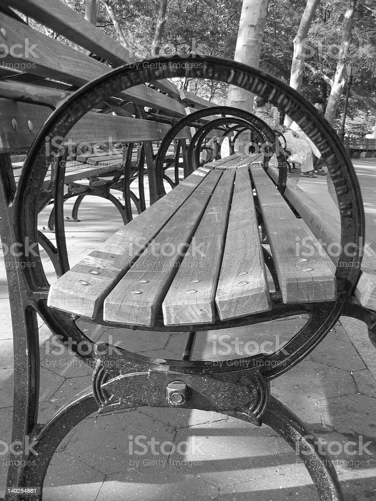 Wooden benches: A different angle royalty-free stock photo