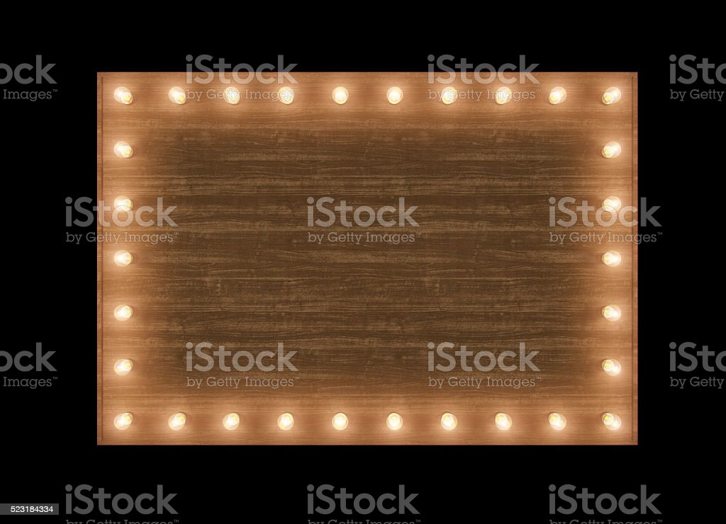 Wooden billboard with bulbs stock photo