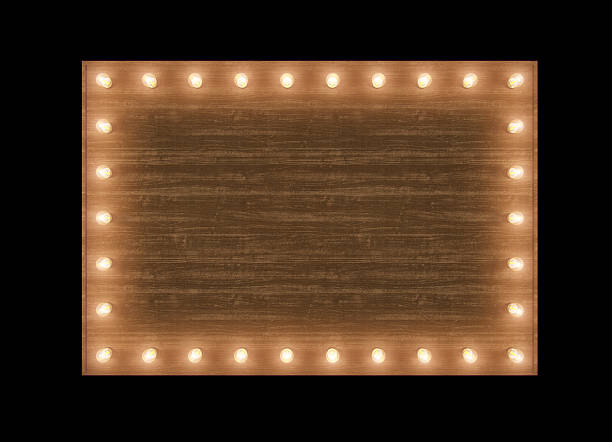 wooden billboard with bulbs - circus background stock photos and pictures