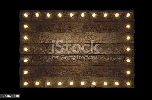 Wooden billboard with bulbs