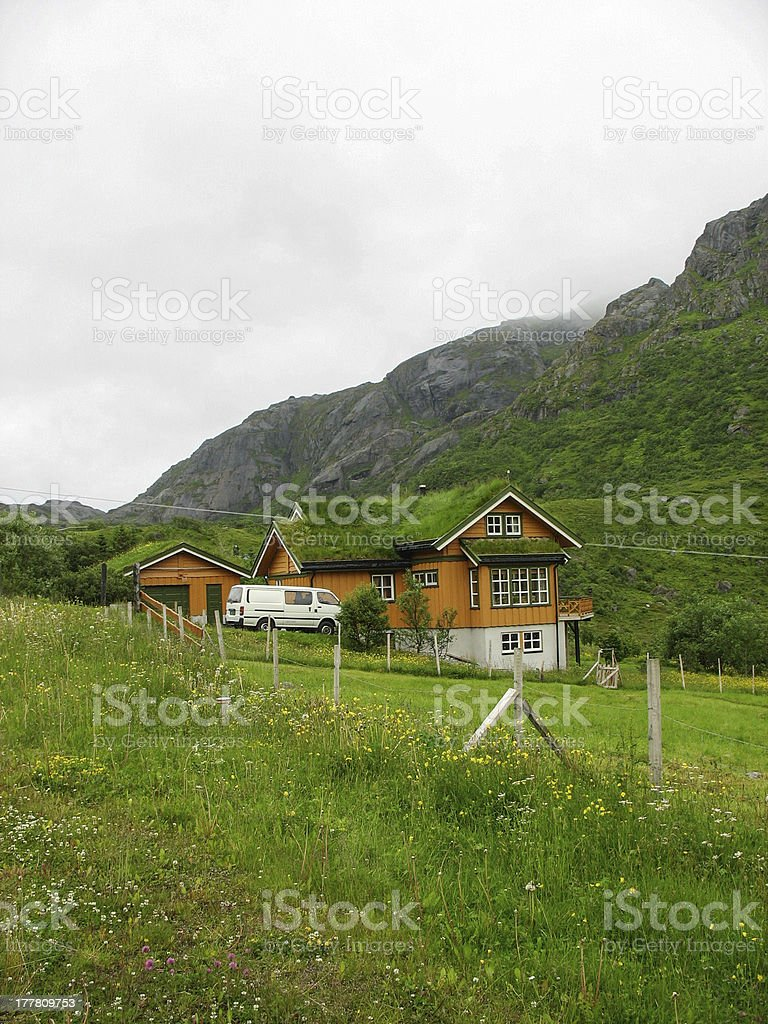 Wooden bioclimatic house in the Lofoten islands stock photo