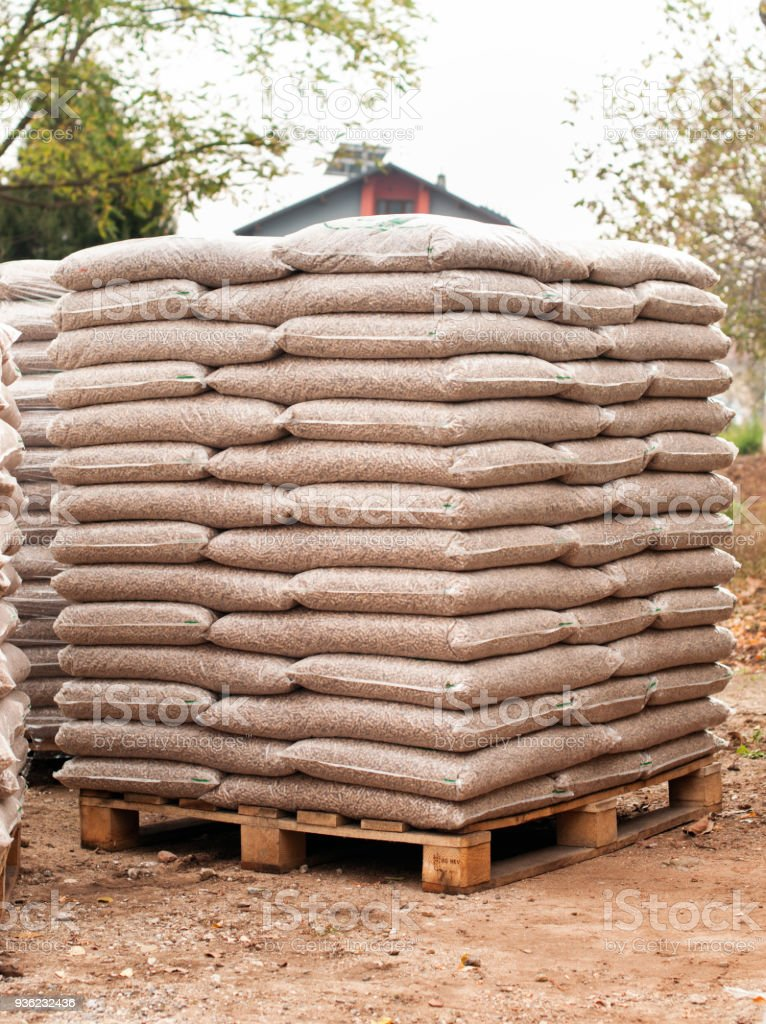 Wooden biomass - renewable energy stock photo