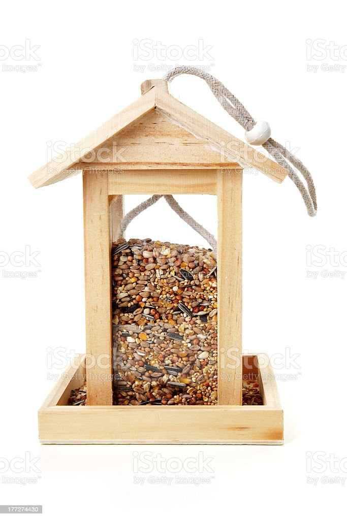 wooden bird feeder house stock photo