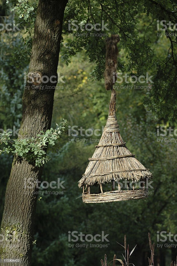 Wooden bird house royalty-free stock photo