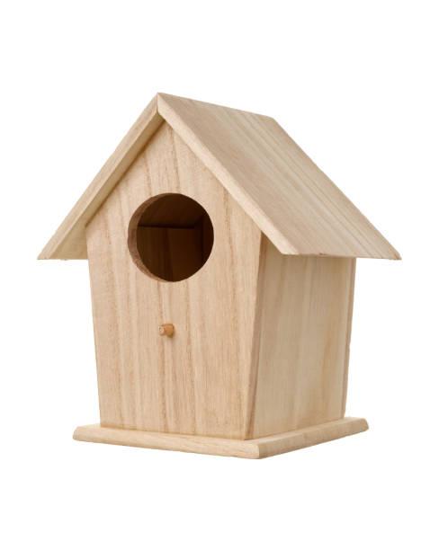 Wooden bird nesting box stock photo