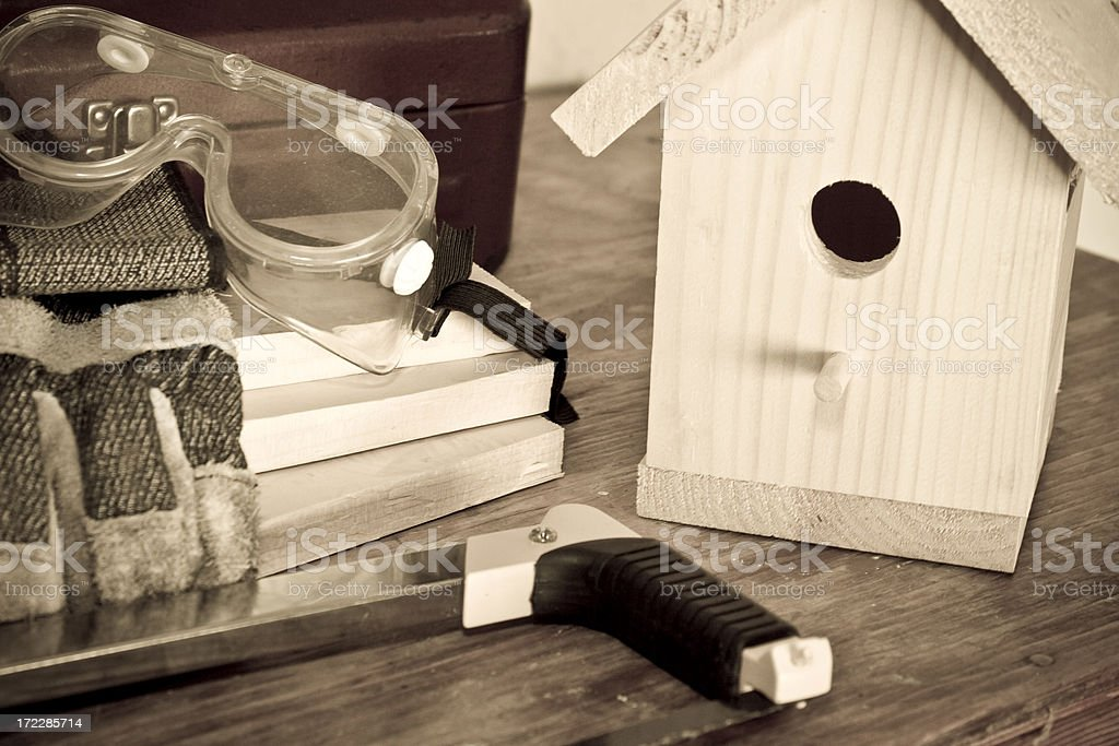 Wooden Birdhouse Construction royalty-free stock photo