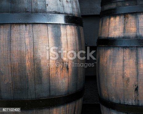 istock Wooden black barrel 827102402