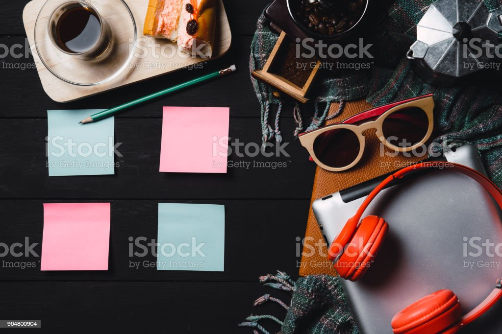 Wooden black table with supplies. royalty-free stock photo