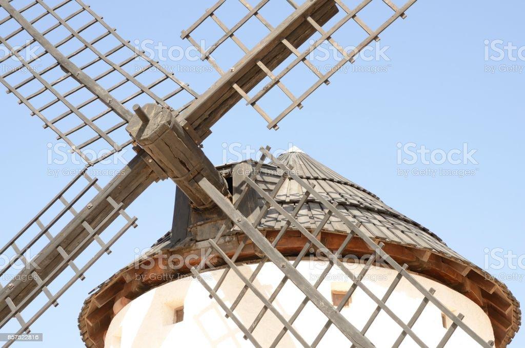 Wooden blades of windmills stock photo