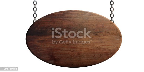 Wooden blank signboard hanging with chains, isolated on white background. 3d illustration