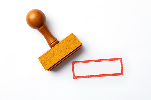 Wooden blank stamp on white background