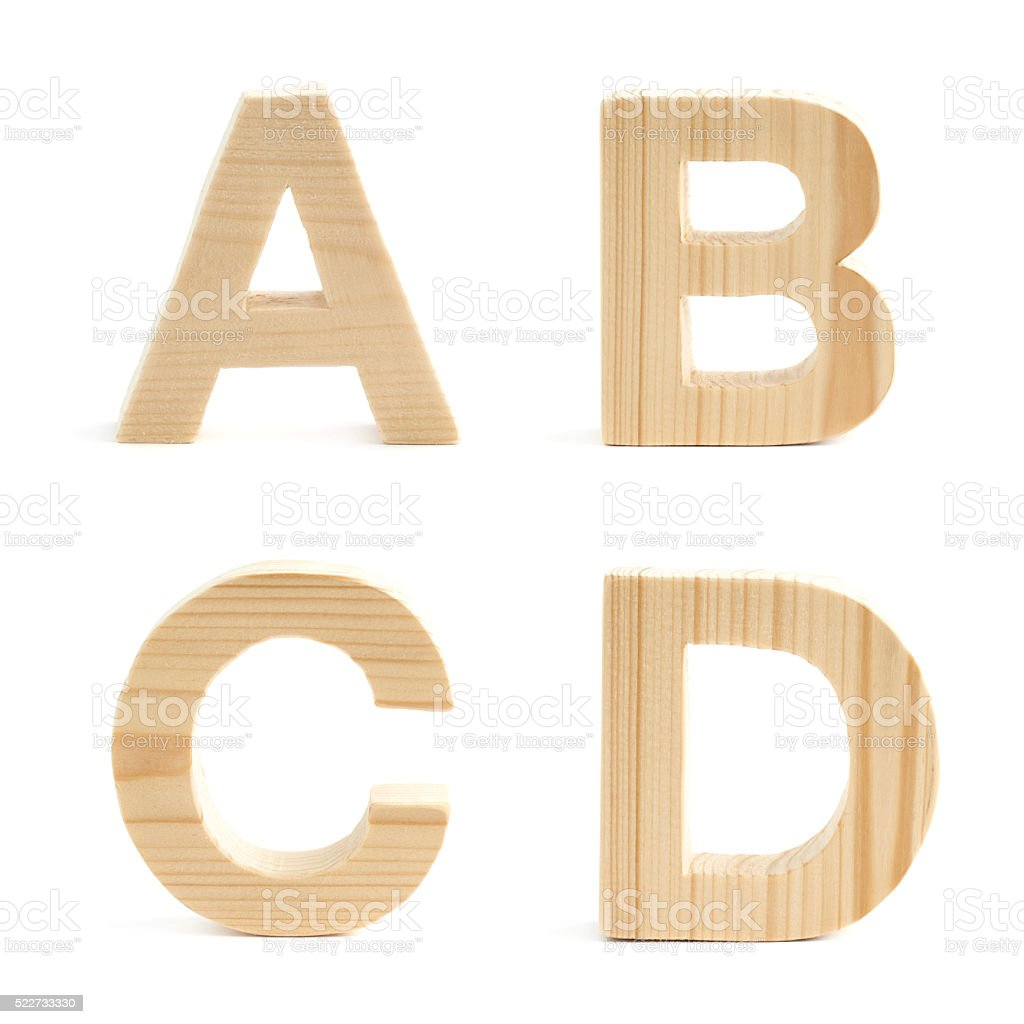 Wooden block letter set isolated stock photo
