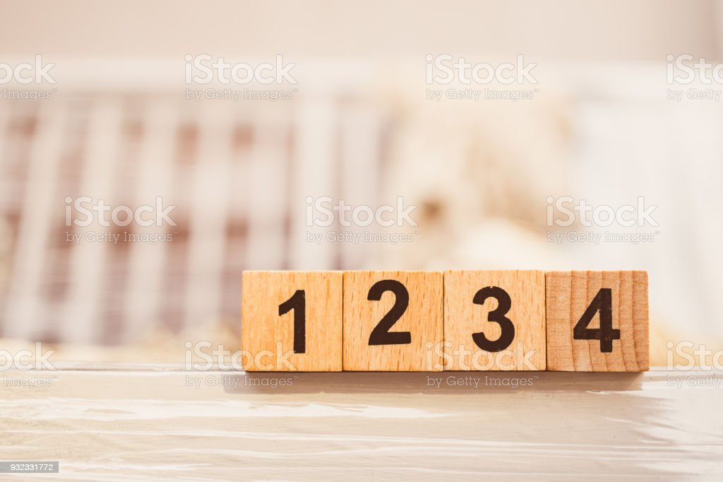 Wooden block number one two three four stock photo