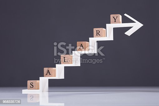Wooden Block With Salary Text On Increasing Arrow Against Grey Background