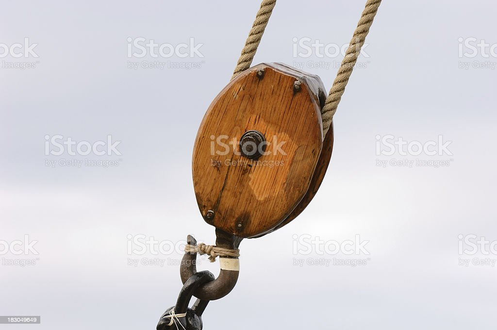 Wooden block & tackle stock photo