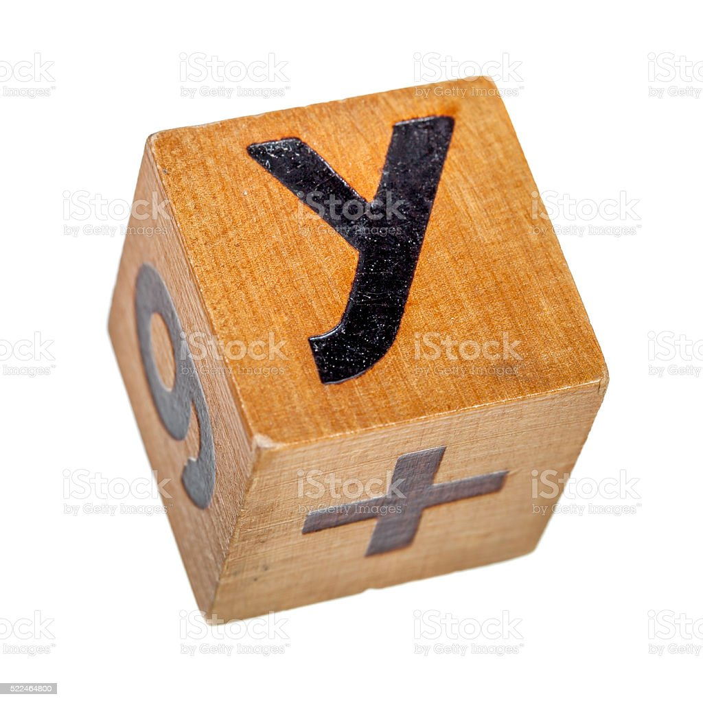 Wooden block with capital letter Y stock photo