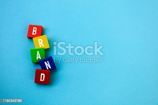 843789992 istock photo Wooden Block With Text Brand 1194343765