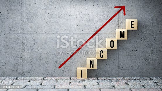 wooden blocks as a stair with the word INCOME on concrete background - 3d illustration