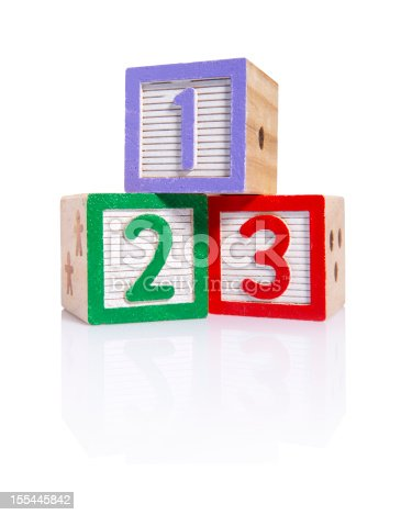 istock Wooden blocks cube (clipping paths) 155445842