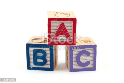 873187696 istock photo ABC wooden blocks cube (clipping paths) 183345097
