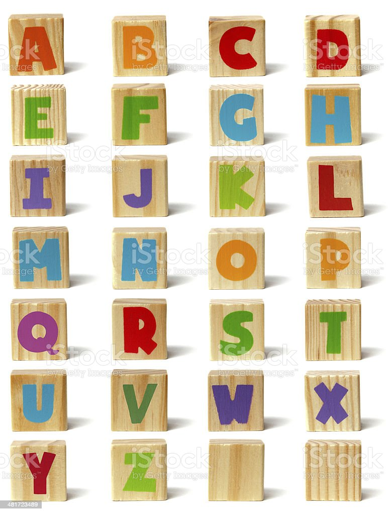 Wooden blocks font stock photo