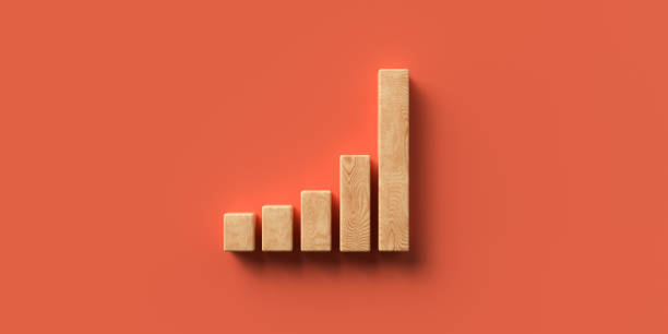 wooden blocks formed as a chart - 3D rendered illustration stock photo