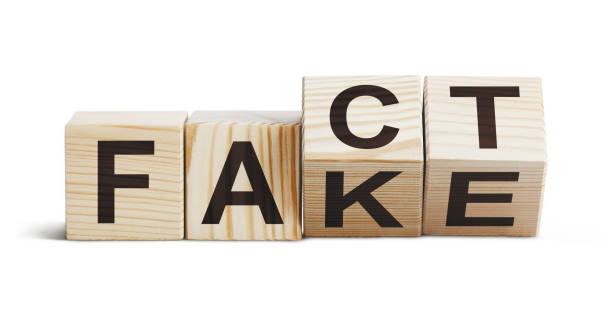 """träblock som bildar orden """"fakta"""" och """"fake"""" på vitt - paper mass bildbanksfoton och bilder"""