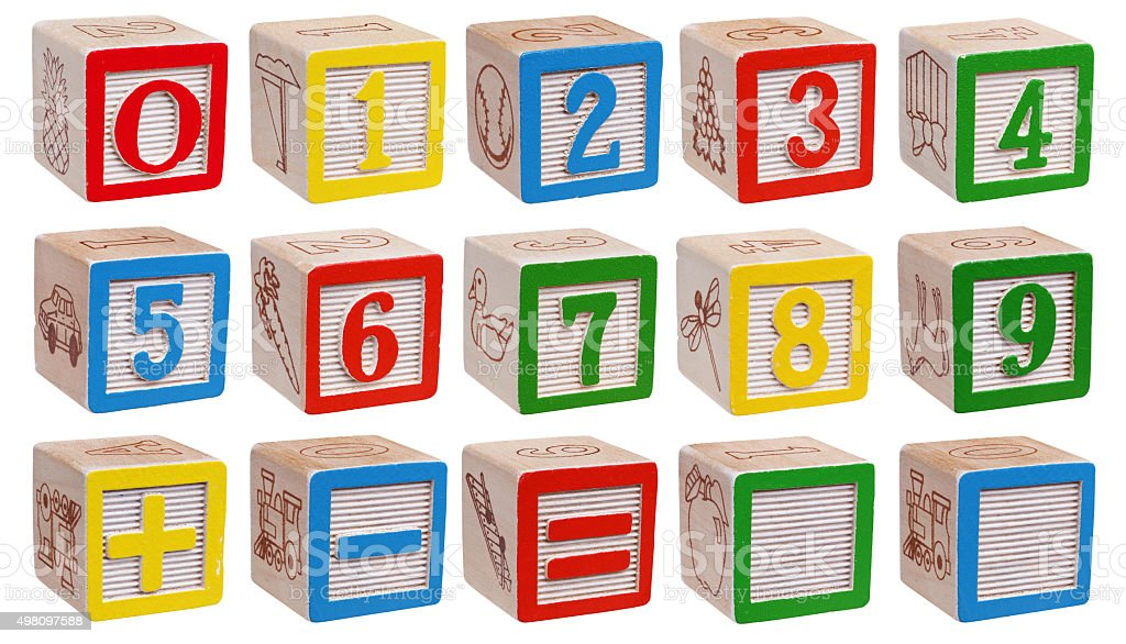 wooden blocks - numbers stock photo