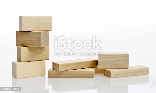 Wooden blocks on white background.