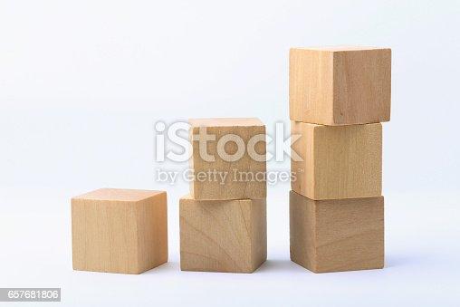 istock Wooden blocks on white background 657681806