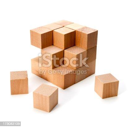 Wooden blocks on white.