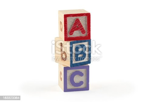 873187696 istock photo ABC wooden blocks (clipping paths) 183323364