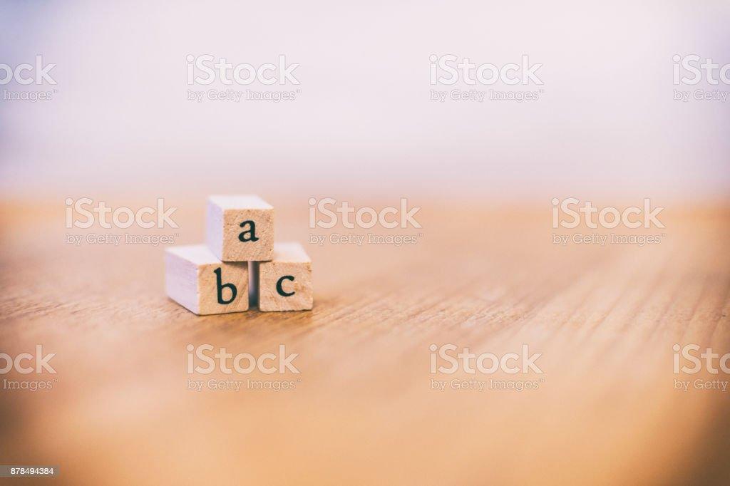 A B C wooden blocks stock photo